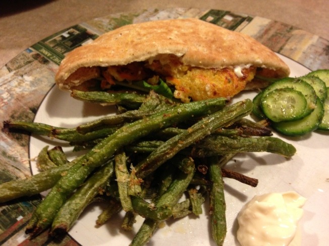 Quick, Easy, Healthy -- Quinoa Burgers, Green Bean Fries with Garlic Mayo, and Homemade Sweet and Sour Pickles